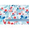 Teplákovina modré a červené květy metr