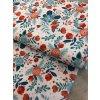 Bavlněný satén modré a červené květy 1