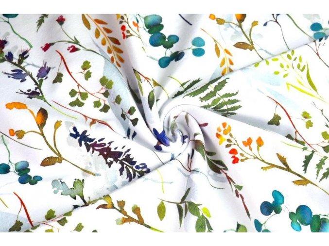 Bavlnený satén lúčne kvety