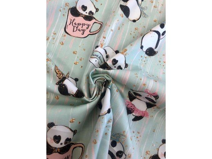 Bavlněný satén happy panda 1