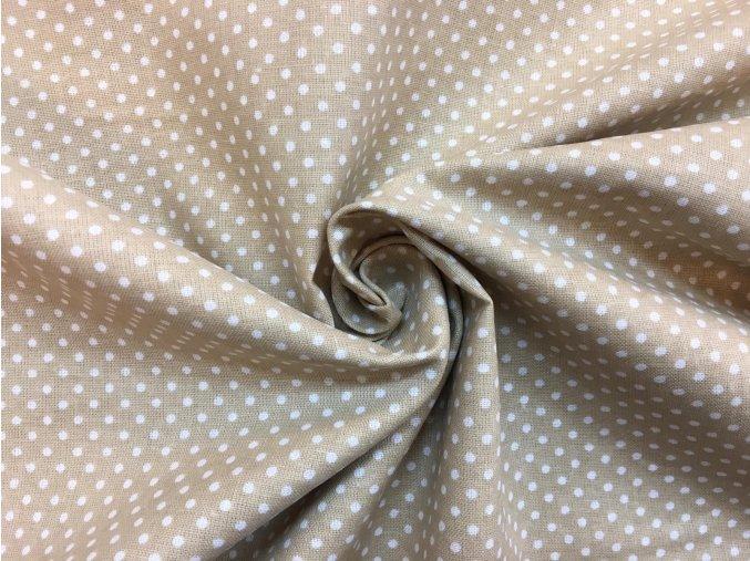 Bavlna biele bodky na béžovej