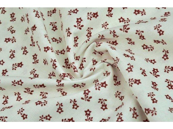 Bavlnené plátno drobné červené kvietky na bielej