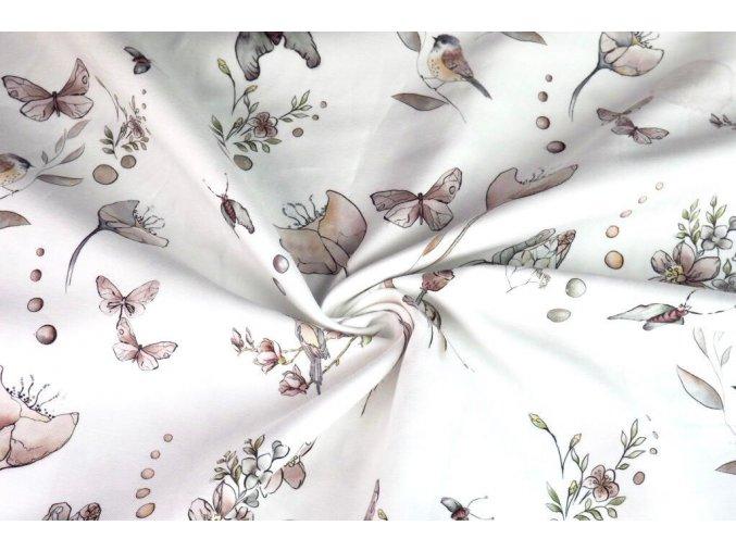 Bavlnený satén máky a motýli 1