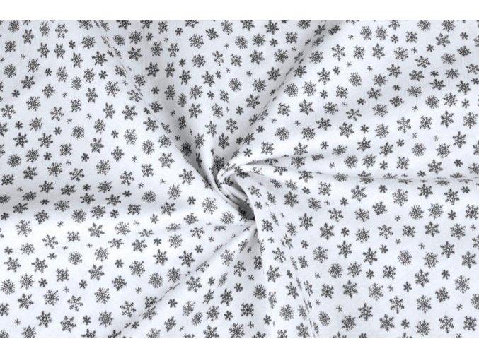 Bavlnené plátno sivé mini vločky na bielej