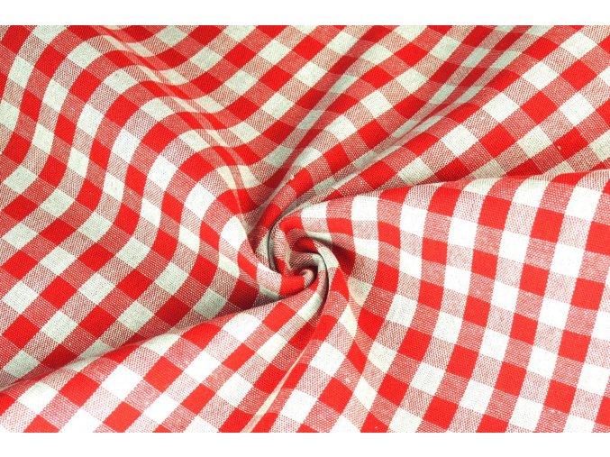Bavlna režná kanafasová kocka červená
