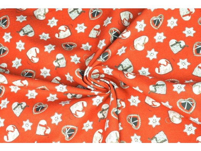 Bavlnené plátno vianočné šité srdiečka