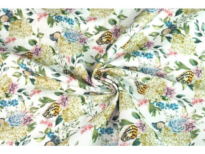 Bavlnené plátno motýle na kvete