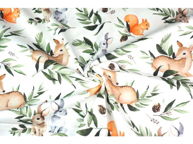Bavlnený satén zajíci, veverky a srnci v lese