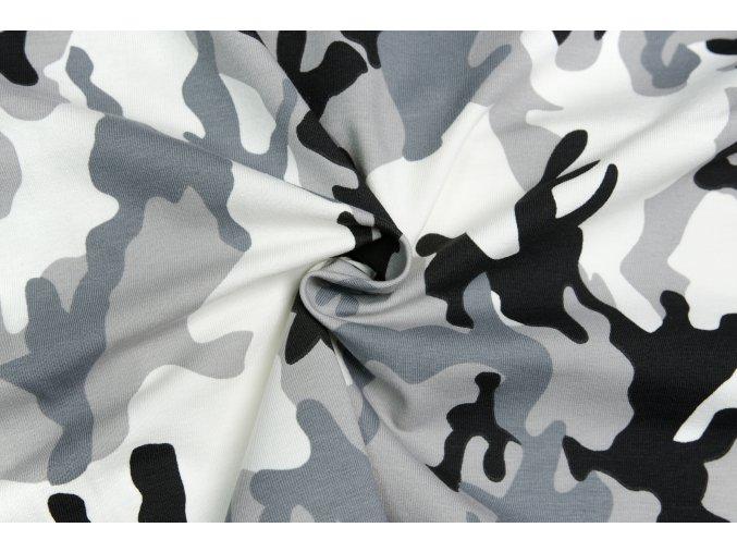 Bavlnený úplet maskáč sivý