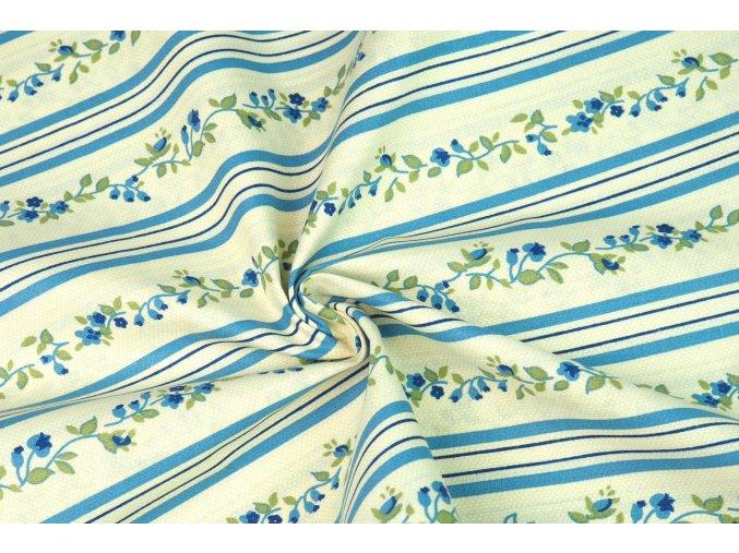 Bavlnené plátno kvety v pruhoch modré na smotanovej