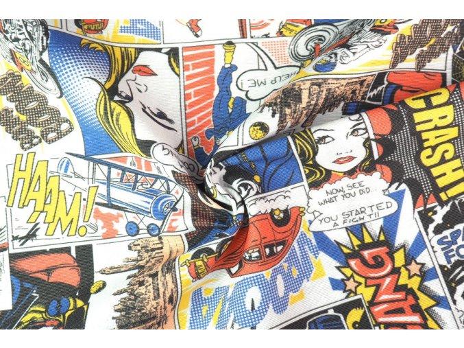 Bavlna režná komiks červený