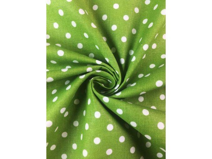 bavlnene platno puntik bily na stredne zelene1