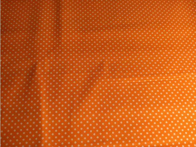 Bavlnené plátno bodky na tmavooranžovej