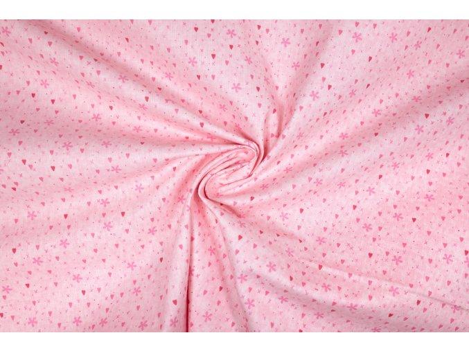Bavlnené plátno drobné srdiečka a kvietky na ružovej
