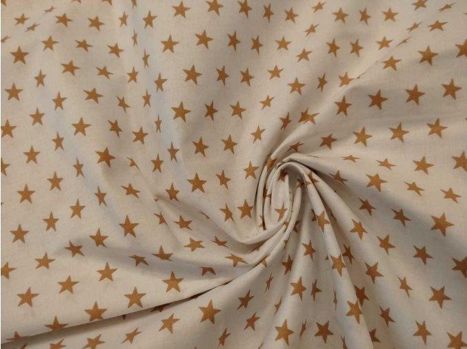 Bavlna hviezdy béžové na bielej