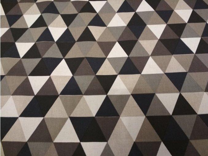 15389 bavlna rezna trojuhelniky cernohnede