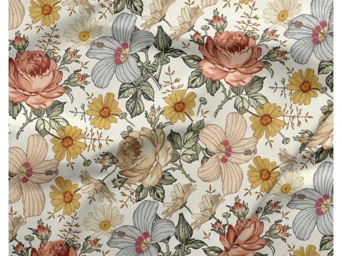 Bavlnený satén farebné kvety