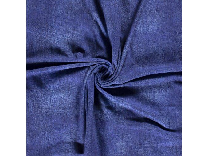 Bavlnený úplet jednostranný jeansový odretý vzhľad