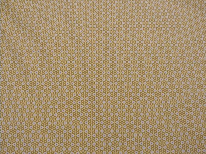 Bavlnené plátno kvety geometrické horčicové