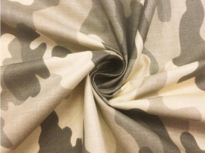 Bavlnené plátno béžovo-sivý maskáč