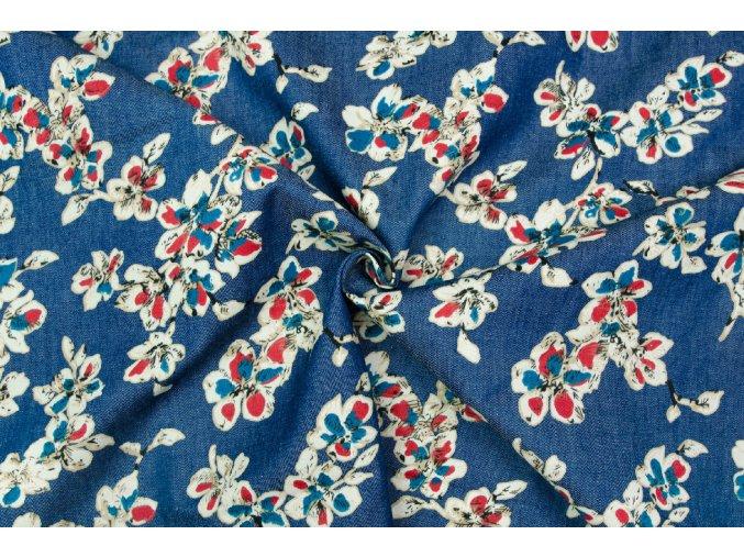 Rifľovina košeľová červeno-modré kvietky na stredne tmavej modrej