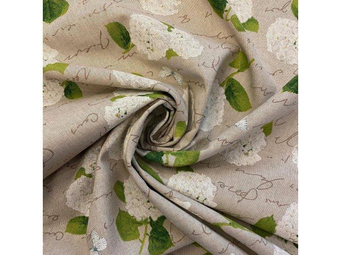 Bavlna režná biela hortenzia