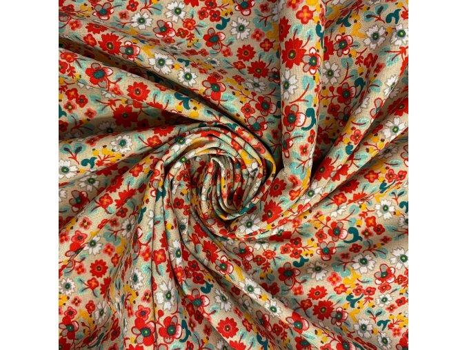 Bavlnené plátno farebné kvety na smotanovej