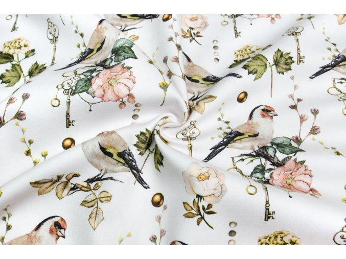 Bavlnený satén vtáky a kľúč
