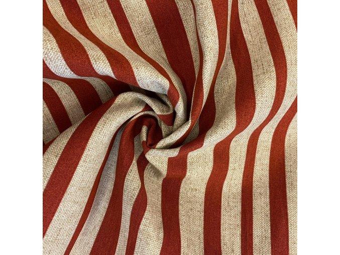 Bavlna režná rôzne široké tmavočervené pruhy