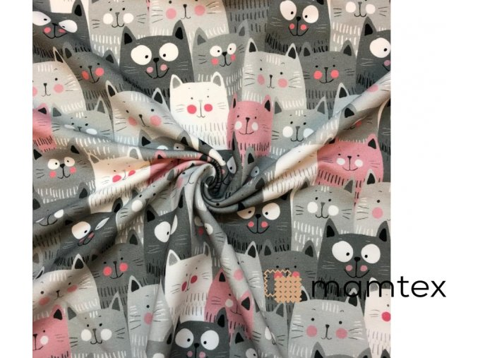 Bavlnený úplet mačky sivé a ružové
