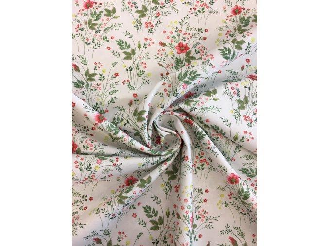 Bavlnené plátno lúčna kytica