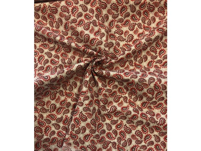 Bavlnené plátno sivo-červený kašmírový vzor