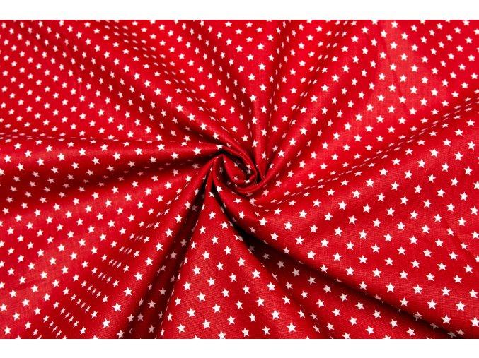 Bavlnené plátno biele drobné hviezdičky na červenej