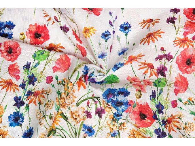 Bavlna režná bordúra lúčnych kvetov