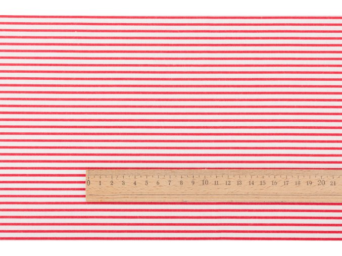 Bavlnené plátno červené prúžky 2 mm na bielej