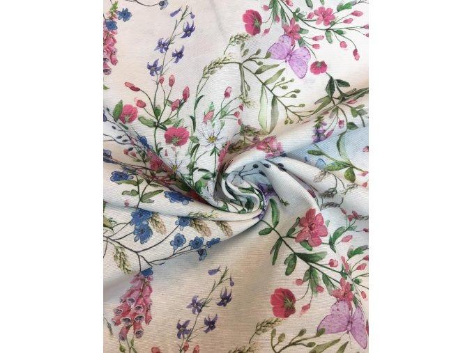 Bavlna režná kvety a motýle na béžovej