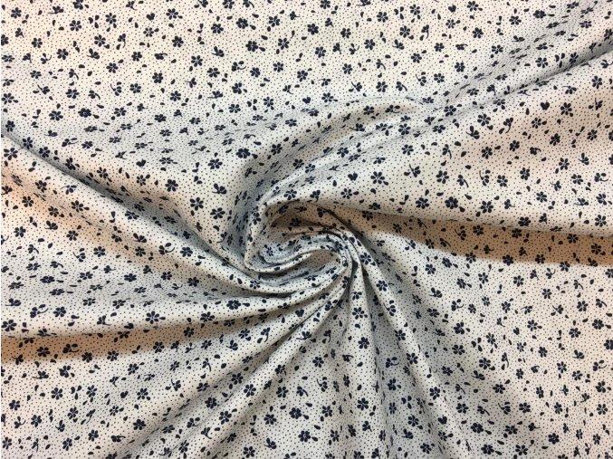Bavlnené plátno tmavomodré kvietky na bielej