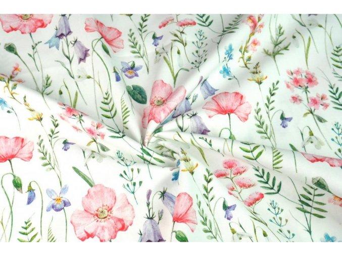 Bavlnený úplet maľovaná lúka digi tlač