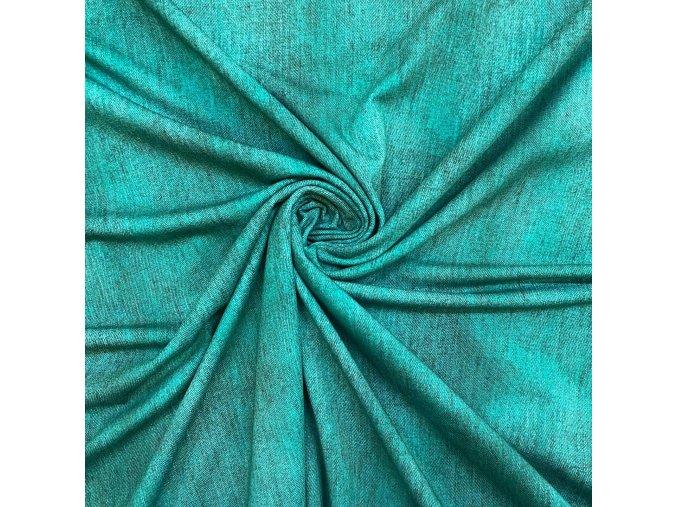 Bavlnený jednostranný úplet zelená, odretý vzhľad