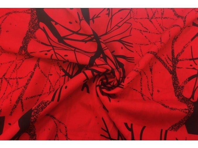 Popelín čierne obrysy stromov na červenej