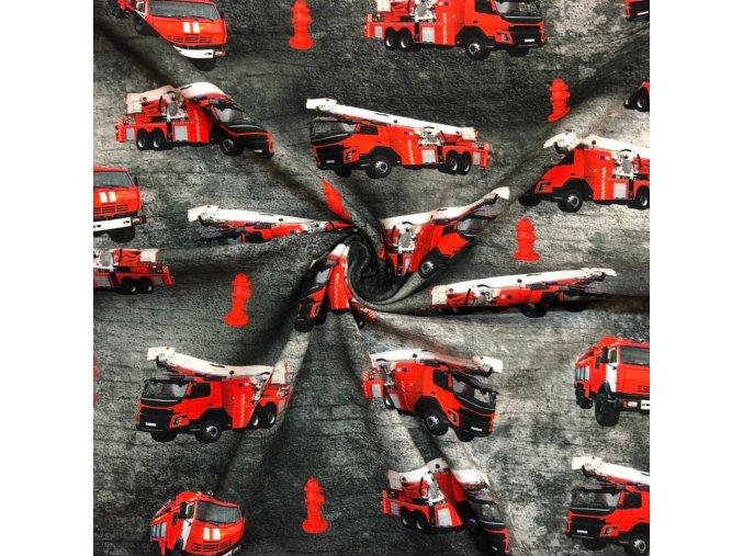Jednostranný bavlnený úplet hasiči na čiernej