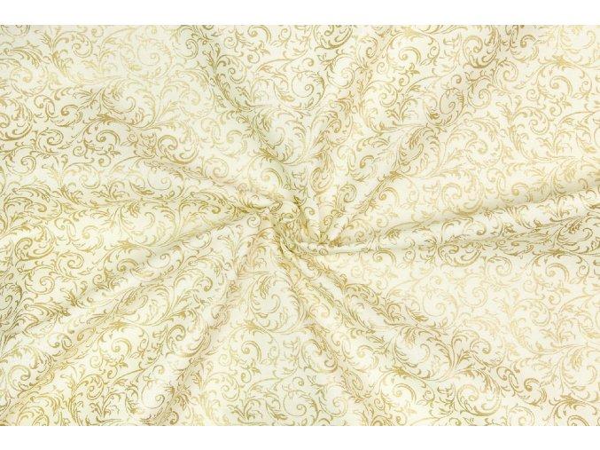 Vianočné bavlnené plátno zlaté krútené vetvičky na vanilkovej