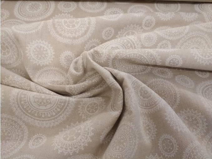 Bavlna režná biele mandaly