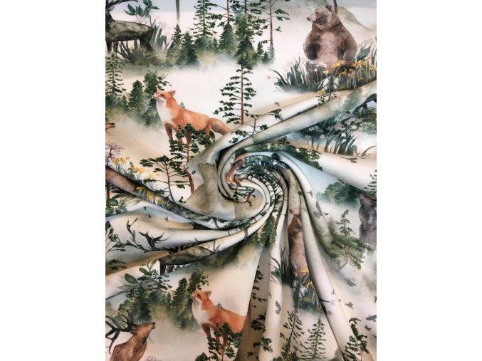 Bavlnený úplet lesná zver