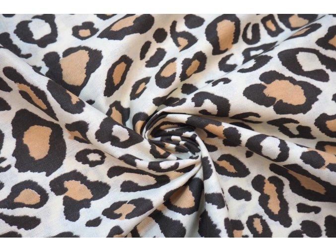Bavlnené plátno zvierací vzor hnedý