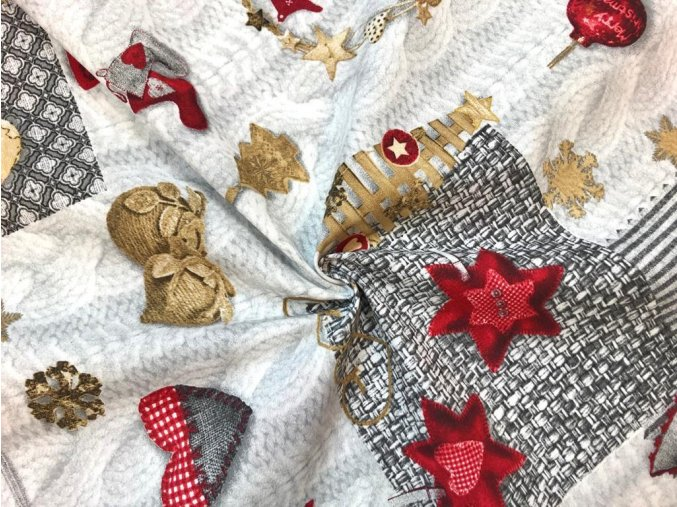 Bavlna režná červené vianočné ozdoby na sivej