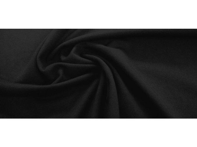 Bavlnený úplet elastický čierny 240 g / m2
