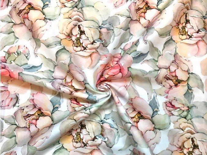 Bavlnený satén maľované pivonky digi tlač