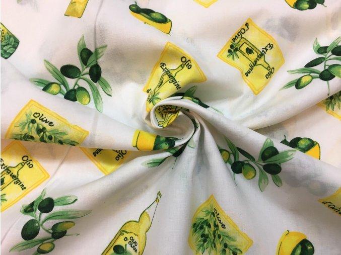 Bavlnené plátno olivy na bielej