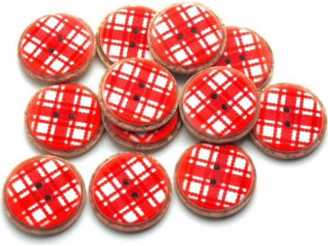 Gombík dvojdierkový plastový 25 mm červená kocka